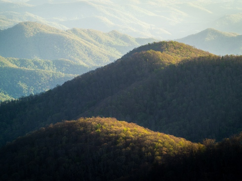 Blue Ridge Mountains dappled in evening light in springtime