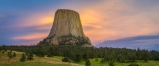 After a summer thunderstorm passed Devils Tower the sunset sky glowed warmly