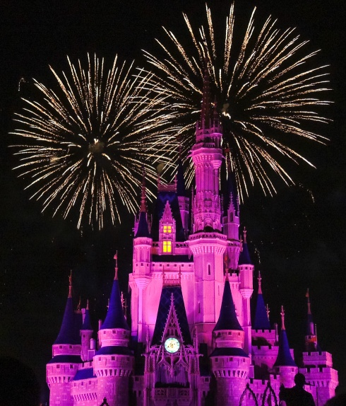 Fireworks light up the sky above Cinderella Castle at the Magic Kingdom