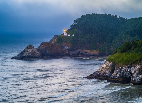 The Haceta Head Lighthouse watches over the Pacific Ocean on the central Oregon coast