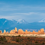 The 12,721 ft. La Sal Mountains rise above the Colorado Plateau near Moab, UT