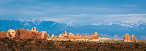 The 12,721 ft. La Sal Mountains rise above the Colorado Plateau near Moab, UT