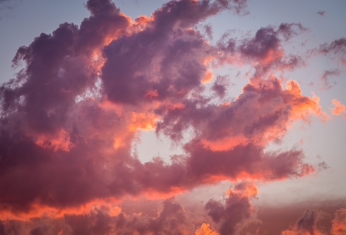 Common everyday clouds become an extraordinary painting in the sky in fiery sunset light