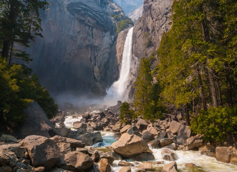 The waterfalls of Yosemite National Park were our first scenic stop