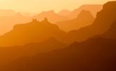 Seemingly endless ridges are layered at sunset at Grand Canyon National Park
