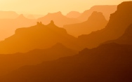 Seemingly endless ridges are layered at sunset at Grand Canyon National Park