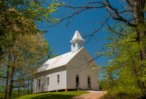 The old Methodist church in idyllic Cades Cove, Great Smoky Mountain N.P.