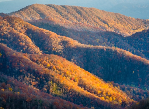Sunset highlights late fall ridges in the Smokies
